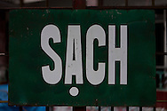 Propaganda sign about cleaness in Tam Dao, Vietnam, Asia. Sach means cleaness.