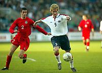 Fotball<br /> Privatlandskamp<br /> Norge v Wales 0-0<br /> Ullevaal Stadion<br /> 27.05.2004<br /> Foto: Morten Olsen, Digitalsport<br /> <br /> Morten Gamst Pedersen - Tromsø<br /> Mark Delaney - Aston Villa