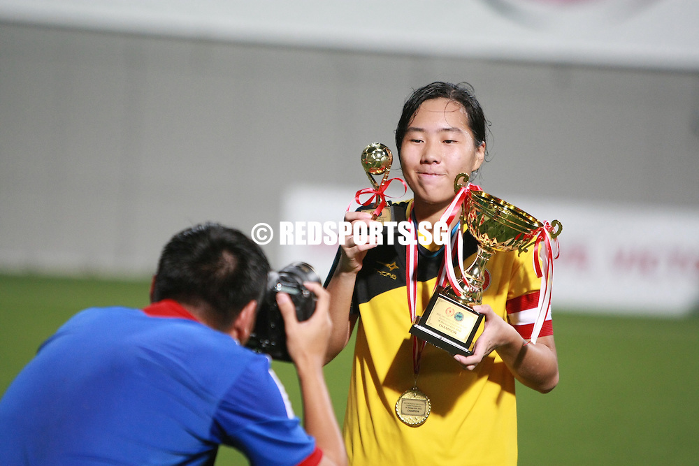 Jalan Besar Stadium, Monday, May 16, 2016 — Victoria Junior College (VJC) saw off Raffles Institution (RI) 4-1 to claim the National A Division Girls Football Championship trophy.<br /> <br /> It is VJC's fourth title in a row, and their eighth in the last nine years. RI had won it in 2012.