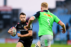 Phil Dollman of Exeter Braves is marked by Hugh Tizard  - Mandatory by-line: Ryan Hiscott/JMP - 01/04/2019 - RUGBY - Sandy Park Stadium - Exeter, England - Exeter Braves v Harlequins - Premiership Rugby Shield