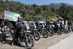 Ready to pull out from a chai stop on day-4 our our Himalayan Heroes adventure riding from Pokhara to Kalopani, Nepal. Friday, November 9, 2018. Photography ©2018 Michael Lichter.