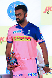 March 22, 2019 - Jaipur, Rajasthan, India - Rajasthan Royals player Jaydev Unadkat during the team jersey unveiled ceremony ahead the IPL 2019 matches  in Jaipur, Rajasthan, India  on March 22,2019. (Credit Image: © Vishal Bhatnagar/NurPhoto via ZUMA Press)