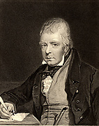 Walter Scott (1771-1832) Scottish author and poet. Best remembered for his historical Waverley novels. Engraving after the portrait by John Prescott Knight (1803-1881) from 'The World's Great Men' (London, c1870).
