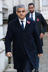 © Licensed to London News Pictures. 10/11/2019. London, UK. Mayor of London, Sadiq Khan walks through Downing Street to attend the Remembrance Sunday Ceremony at the Cenotaph in Whitehall. Remembrance Sunday events are held across the country today as the UK remembers and honours those who have sacrificed themselves in two world wars and other conflicts. Photo credit: Vickie Flores/LNP