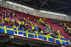 """October 10, 2017 - Amsterdam, NEDERLÃ""""NDERNA - 171010 Sveriges supportrar pÃ¥ läktaren under VM-kvalmatchen i fotboll mellan Holland och Sverige den 10 oktober 2017 i Amsterdam  (Credit Image: © Andreas L Eriksson/Bildbyran via ZUMA Wire)"""
