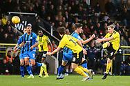 Burton Albion midfielder Jamie Allen (4) shoots at goal during the EFL Sky Bet League 1 match between Burton Albion and Gillingham at the Pirelli Stadium, Burton upon Trent, England on 12 January 2019.
