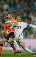 15/2/2004 Madrid, Spain.<br />La Liga (Spanish League), stage 24.<br />R.Madrid 1 - Valencia 1<br />R.Madrid's Raul in duel with Valencia's Marchena at Santiago Bernabeu's Stadium.<br />© 2004 Alejandro leon Fernandez