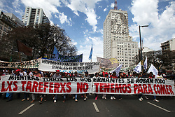 October 9, 2018 - Buenos Aires, Buenos Aires, Argentina - Yerba Mate producers, known as ''tareferos'', protest in downtown Buenos Aires. The protest is against the taxes that increase the price of the Yerba. Yerba is widely known as the source of the beverage called Mate, traditionally consumed in Argentina. (Credit Image: © Claudio Santisteban/ZUMA Wire)