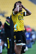 A Dejected & Injured Ardie Savea. Super Rugby Aotearoa. Hurricanes v Crusaders, Sky Stadium, Wellington. Sunday 11th April 2021. Copyright photo: Grant Down / www.photosport.nz