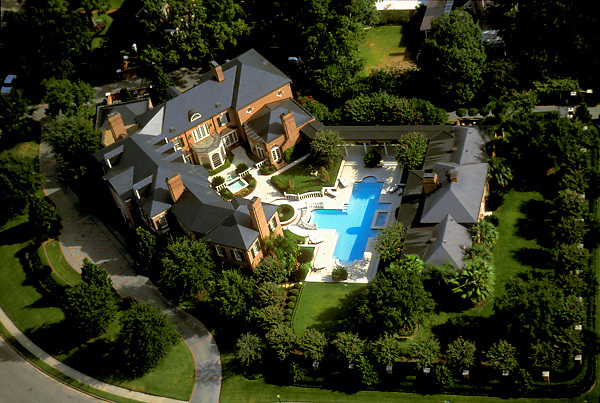 Stock photo of an aerial view of a River Oaks home