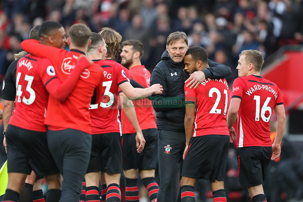 March 9, 2019 - Southampton, England, United Kingdom - Southampton Manager Ralph Hasenhuttl is delighted with his players win during the Premier League match between Southampton and Tottenham Hotspur at St Mary's Stadium, Southampton on Saturday 9th March 2019. (Credit Image: © Mi News/NurPhoto via ZUMA Press)