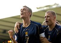 Photo: Jed Wee/Sportsbeat Images.<br /> Scotland v Lithuania. UEFA European Championships Qualifying. 08/09/2007.<br /> <br /> Scotland's James McEveley (R) and Darren Fletcher celebrate Scotland's opening goal.