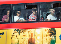 © Licensed to London News Pictures. 26/07/2018. London, UK. Bus passengers feel the heat as London experiences the hottest day of the year so far. Photo credit: Peter Macdiarmid/LNP