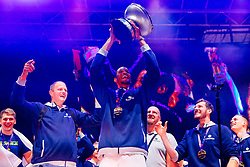 September 18, 2017 - Ljubljana, Slovenia, Slovenia - Raso Nesterovic and Anthony Randolph celebrate after Slovenian basketball team historical win in European Championship in Istanbul on September 18, 2017 in Ljubljana, Slovenia. (Credit Image: © Damjan Zibert/NurPhoto via ZUMA Press)