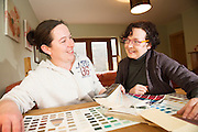 Ruth Freeman and  Suzi Ward picking paint colours.<br /> Photo:Andrew Downes