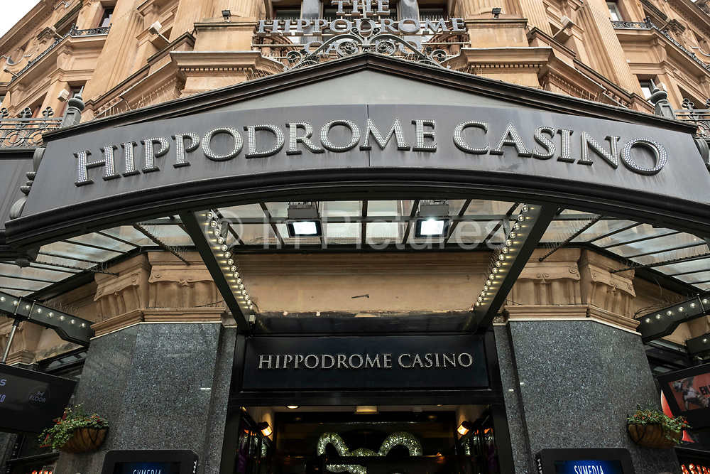 Sign and entrance to the Hippodrome Casino in Leicester Square on 25th May 2021 in London, United Kingdom. The Hippodrome Casino has well & truly established itself as a cornerstone of West End life. The biggest & busiest casino in the UK, they are also London's most popular entertainment venue and have welcomed over 7 million visitors since opening in 2012.