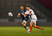 Sale Sharks hooker Rob Webber throws a pass during a European Challenge Cup Quarter Final match in Eccles, Greater Manchester, United Kingdom, Friday, March 29, 2019.  (Steve Flynn/Image of Sport)