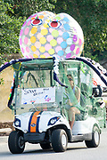 A golf cart float decorated as an octopus during the annual Independence Day golf cart and bicycle parade July 4, 2019 in Sullivan's Island, South Carolina. The tiny affluent Sea Island beach community across from Charleston holds an outsized golf cart parade featuring more than 75 decorated carts.