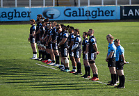 Rugby Union - 2020 / 2p021 Gallagher Premiership - Round 16 - Newcastle Flacons vs Bristol Bears - Kingston Park<br /> <br /> Newcastle Falcons players line up for a 2 minute silence to pay respect to The Duke of Edinburgh, Prince Phillip <br /> <br /> Credit: COLORSPORT/BRUCE WHITE