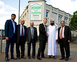Pictured: Umar Malik, Bashir Malik (member of the Edinburgh Inter-Faith Association), Mohammad Sleem Irshad (Chairperson of the Annandale Street Mosque),Willie Rennie, Imman Abdulghaffar and Mohammad Aslam<br /> <br /> Scottish Liberal Democrat  leader Willie Rennie headed to meet up with members of the Annandale Mosque, which has invited Donald Trump to visit while he is in Scotland this week to learn more about Islam.<br /> <br /> (c) Ger Harley | Edinburgh Elite media