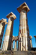 Greek Dorik columns at the  ruins of Temple F at Selinunte, Sicily photography, pictures, photos, images & fotos. Greek Dorik Temple columns of the ruins of the Temple of Hera, Temple E, Selinunte, Sicily .<br /> <br /> If you prefer to buy from our ALAMY PHOTO LIBRARY  Collection visit : https://www.alamy.com/portfolio/paul-williams-funkystock/selinuntetemple.html<br /> Visit our CLASSICAL WORLD HISTORIC SITES PHOTO COLLECTIONS for more photos to buy as buy as wall art prints https://funkystock.photoshelter.com/gallery-collection/Classical-Era-Historic-Sites-Archaeological-Sites-Pictures-Images/C0000g4bSGiDL9rw