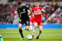 Muhamed Besic of Middlesbrough takes on Mile Jedinak of Aston Villa - Mandatory by-line: Robbie Stephenson/JMP - 12/05/2018 - FOOTBALL - Riverside Stadium - Middlesbrough, England - Middlesbrough v Aston Villa - Sky Bet Championship