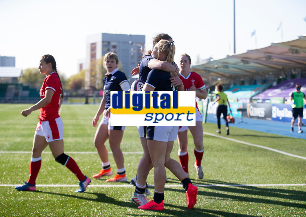 Rugby Union - 2021 Women's Six Name - Third Place Final - Scotland vs Wales - Scotstoun Stadium<br /> <br /> Megan Gaffney of Scotland scores the first try of the game to make it 5-0 to Scotland <br /> <br /> Credit: COLORSPORT/BRUCE WHITE