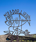 Metal sculpture sign for Mirador del Rio designed by Cesar Manrique, Lanzarote, Canary Islands, Spain