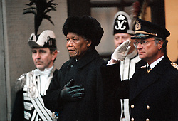 NELSON ROLIHLAHLA MANDELA (July 18, 1918 - December 5, 2013) world renowned civil rights activist and world leader dies at 95. Mandela emerged from prison to become the first black President of South Africa in 1994. As a symbol of peacemaking, he won the 1993 Nobel Peace Prize. Joined his countries anti-apartheid movement in his 20s and then the ANC (African National Congress) in 1942. For next 20 years, he directed a campaign of peaceful, non-violent defiance against the South African government and its racist policies and for his efforts was incarcerated for 27 years. PICTURED: Mar 17, 1999 - Sweden - NELSON MANDELA with Swedish King CARL GUSTAF XVI. (Credit Image: © Aftonbladet/IBL/ZUMAPRESS.com)