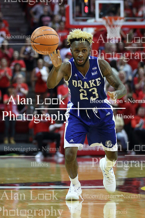 21 February 2018:  Ore Arogundade during a College mens basketball game between the Drake Bulldogs and Illinois State Redbirds in Redbird Arena, Normal IL