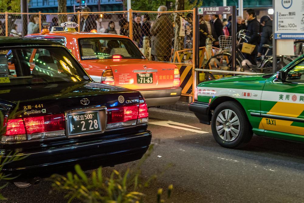Taxis queuing in Shinjuku.