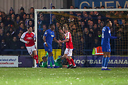 Fleetwood Town attacker Ched Evans (9) celebrating after scoring goal to make it 0-1 during the EFL Sky Bet League 1 match between AFC Wimbledon and Fleetwood Town at the Cherry Red Records Stadium, Kingston, England on 22 January 2019.