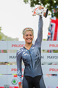 Barbara Guarischi (of Velocio Sports), the winner, of The Womens Grand Prix. Prudential RideLondon a festival of cycling, with more than 95,000 cyclists, including some of the world's top professionals, participating in five separate events over the weekend of 1-2 August.