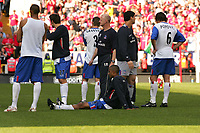 Photo:  Frances Leader.<br /> Charlton Athletic v Crystal Palace. The Barclays Premiership. <br /> The Valley.<br /> 15/05/05<br /> Palaces Manager (centre) Iain Dowie and his team commisirate after the game which means they will be relagated for next season.