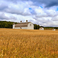 """""""White Barn and Field""""<br /> <br /> Beautiful rural Michigan barn and golden field in early autumn!!<br /> <br /> Autumn Landscapes by Rachel Cohen"""