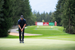 Justin Timberlake plays at the Open Golf Omega European Master Crans Montana in Switzerland on August 28, 2019. Photo by Loona/ABACAPRESS.COM