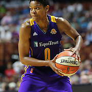 UNCASVILLE, CONNECTICUT- MAY 26: Alana Beard #0 of the Los Angeles Sparks in action during the Los Angeles Sparks Vs Connecticut Sun, WNBA regular season game at Mohegan Sun Arena on May 26, 2016 in Uncasville, Connecticut. (Photo by Tim Clayton/Corbis via Getty Images)