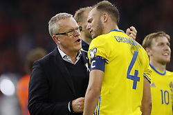 (L-R) coach Janne Andersson of Sweden, Andreas Granqvist of Sweden during the FIFA World Cup 2018 qualifying match between The Netherlands and Sweden at the Amsterdam Arena on October 10, 2017 in Amsterdam, The Netherlands