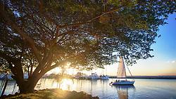 Barcos a vela ao por-do-sol no clube Veleiros do Sul, em Porto Alegre. FOTO: Jefferson Bernardes/Preview.com