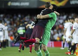 May 9, 2019 - Valencia, Valencia, Spain - Cech and Koscielny of Arsenal celebrating during UEFA Europa League football match, between Valencia and Arsenal, May 09th, in Mestalla stadium in Valencia, Spain. (Credit Image: © AFP7 via ZUMA Wire)