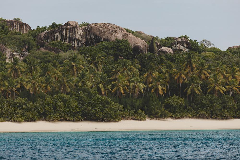 The pristine white sand lines beaches of Trunk Bay on Virgin Gorda.