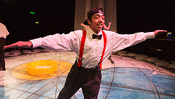 """© Licensed to London News Pictures. 11/12/2013. London, England. Pictured: Mikey Ureta. The children's show """"Get Happy"""" by """"Told by an Idiot"""" is showing at the Pit Theatre/Barbican from 12-29 December 2013. Created by Told by an Idiot under the directon of Paul Hunter, a Barbican commission. Photo credit: Bettina Strenske/LNP"""