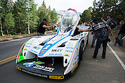 June 30, 2013 - Pikes Peak, Colorado. Monster Tajima celebrates with fans after the 91st running of the Pikes Peak Hill Climb.