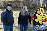 North Merrick, New York, USA. March 31, 2018.  L-R, LOU CICCONE and SUE MOLLER, the Co-Presidents of North and Central Merrick Civic Association visit Brittany at her BALLOONS BY BRITTANY table at the Annual Eggstravaganza held at Fraser Park.