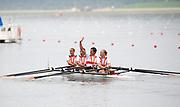 Shunyi, CHINA. GER W4X Bronze medalist, Bow, OPPELT Britta, LUTZE Manuela, BORON Kathrin, SCHILLER Stephanie.  2008 Olympic Regatta, Shunyi Rowing Course.  Sun 17.08.2008.  [Mandatory Credit: Peter SPURRIER, Intersport Images