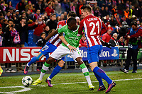 Atletico de Madrid's player Kevin Gameiro and Yannick Carrasco and PSV Eindhoven's player Nicolas Isimat-Mirin  during a match of La Liga at Santiago Bernabeu Stadium in Madrid. November 06, Spain. 2016. (ALTERPHOTOS/BorjaB.Hojas)