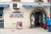 waiting at newspaper store during Covid 19 crisis France Limoux April 2020