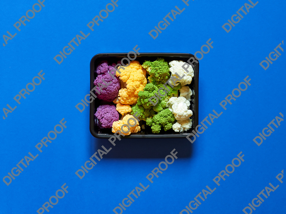 Set of seasonal and colorful cauliflower violet, yellow, green and white boxed in a plastic recipient  over electric blue background