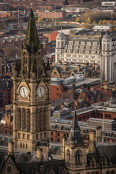 © Licensed to London News Pictures . 07/12/2013 . Manchester Town Hall clock tower . Cityscape view of Manchester . Photo credit : Joel Goodman/LNP