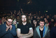 Members of the audience dancing to The Brumbleberry Folk Collective on stage at the iSessions final at Gorilla, Manchester. The student competition was organised by the iPaper and featured bands from universities across the United Kingdom. The winning band at the final was Man Like Nells from the University of Manchester.